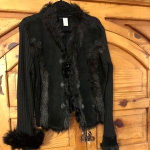 Fur/Suede Cardigan Sweater
